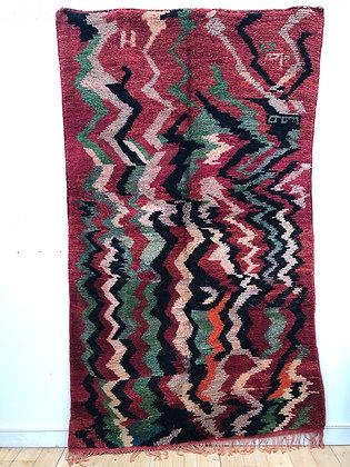 Tapis berbère Boujaad rouge et vert à motifs 2,58x1,52m