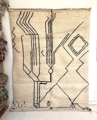 Tapis berbère Beni Ouarain à motifs graphiques noirs 2,87x2,06m