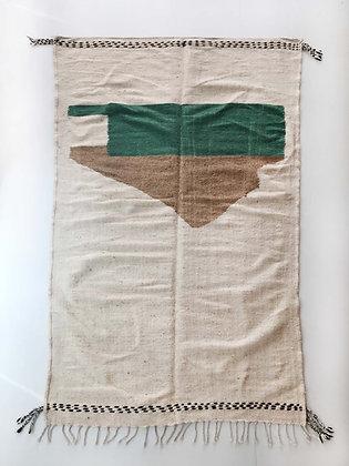 Kilim berbère écru à motifs colorés 2,41x1,34m