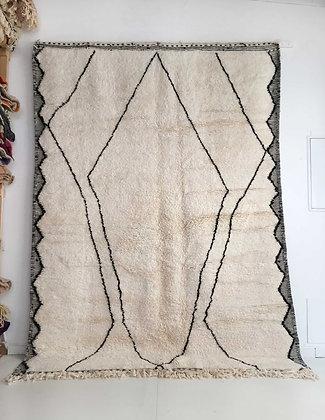 Tapis berbère Beni Ouarain écru à motif graphique 2,92x2,10m