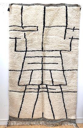 Tapis berbère Beni Ouarain à motifs graphiques noirs 2,55x1,53m