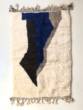 Tapis berbère Beni Ouarain à motifs colorés 2x1,36m