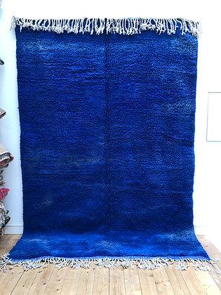 Tapis berbère Beni Ouarain bleu uni 3,16x2,12m