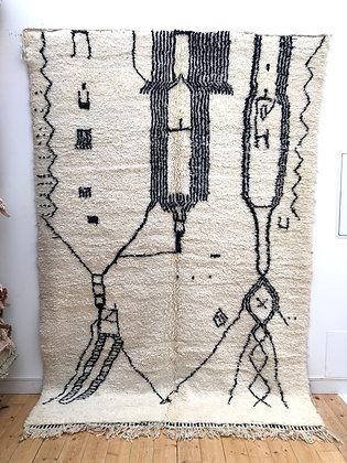 Tapis berbère Beni Ouarain à motifs graphiques noirs 2,93x2m