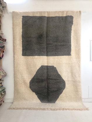 Tapis berbère Azilal à motifs graphiques gris 2,94x1,97m