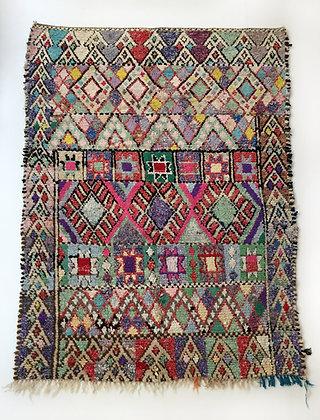 Tapis berbère Boucherouite à motifs colorés 2,33x1,56m