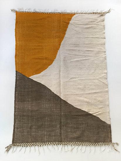 Kilim berbère écru et motifs colorés 2,45x1,51m