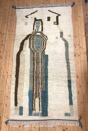 Tapis berbère Azilal écru à motifs kaki et nuances de bleu et vet 2,52x1,29m