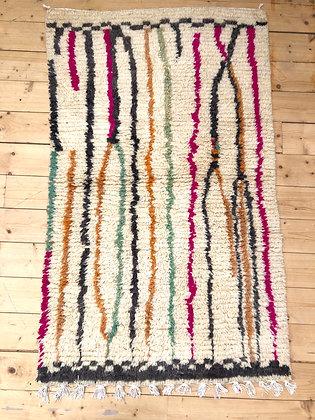 Tapis berbère Boujaad à lignes colorées 1,51x0,94m