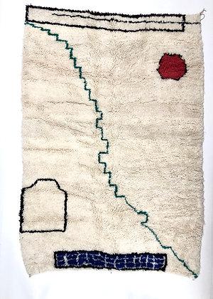 Tapis berbère Azilal à motifs graphiques colorés 2,53x1,75m
