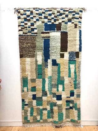 Tapis berbère Azilal camaïeu de verts et bleu 2,58x1,37m