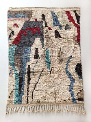 Tapis berbère Boujaad écru à motifs colorés 2,28x1,57m