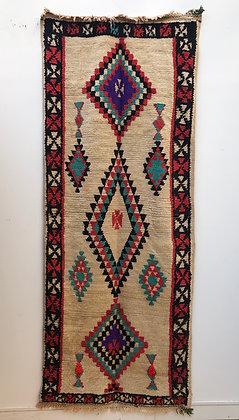 Tapis berbère couloir Azilal vintage 2,54x1,02m