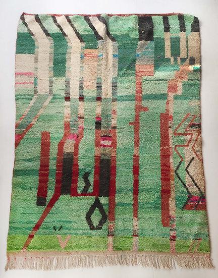 Tapis berbère Boujaad vert à motifs colorés 2,83x2,05m