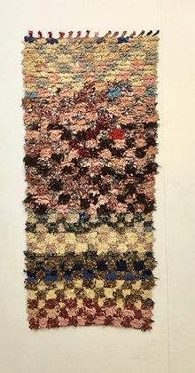 Tapis berbère Boucherouite pastels 1,78x0,83m