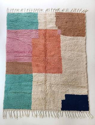 Tapis berbère Boujaad écru à aplats colorés 2,73x2,06m