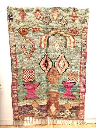 Tapis berbère Boujaad à couleurs pastels 2,44x1,75m