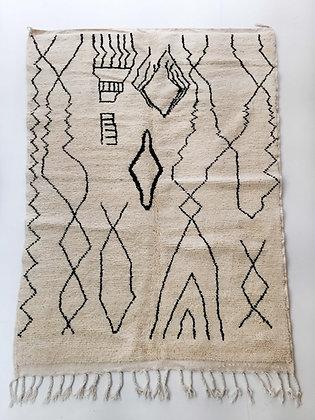 Tapis berbère Beni Ouarain écru à motifs noirs 2,33x1,58m