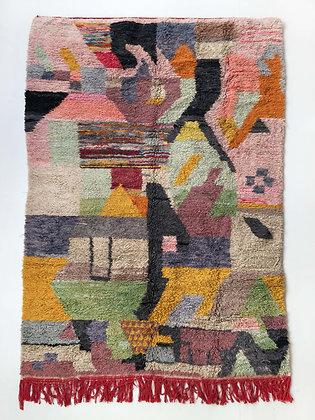 Tapis berbère Boujaad à motifs colorés 2,50x1,52m