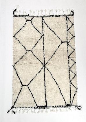 Tapis berbère Beni Ouarain à motifs graphiques noirs 2,02x1,33m