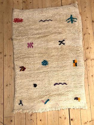 Tapis berbère Boujaad écru à motifs libres colorés 1,37x0,9m