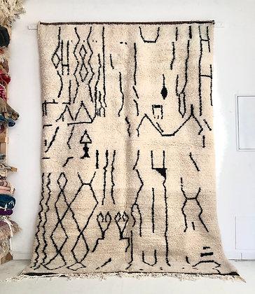 Tapis berbère Beni ouarain à motifs graphiques noirs 2,96x1,98m