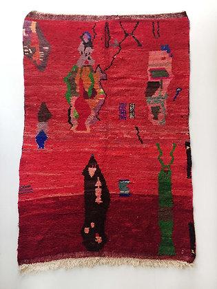 Tapis berbère Boujaad rouge à motifs colorés 2,56x1,52m