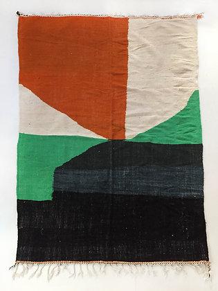 Kilim berbère écru et motifs colorés 2,82x1,80m