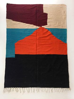 Kilim berbère écru à aplats colorés 2,98x1,90m
