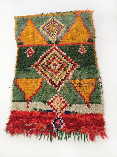 Tapis berbère Boucherouite à motifs coloré 1,51x1,05m