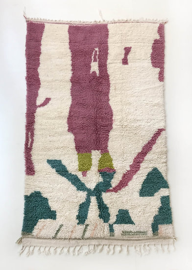 Tapis berbère Beni Ouarain à motifs colorés 2,50x1,46m