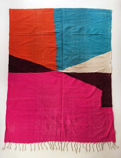 Kilim berbère écru à aplats colorés 2,94x1,90m