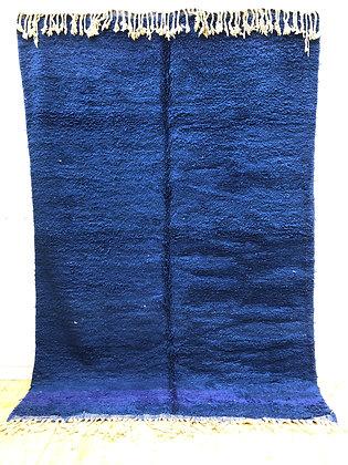 Tapis berbère Beni Ouarain bleu intense uni 3,01x2,02M