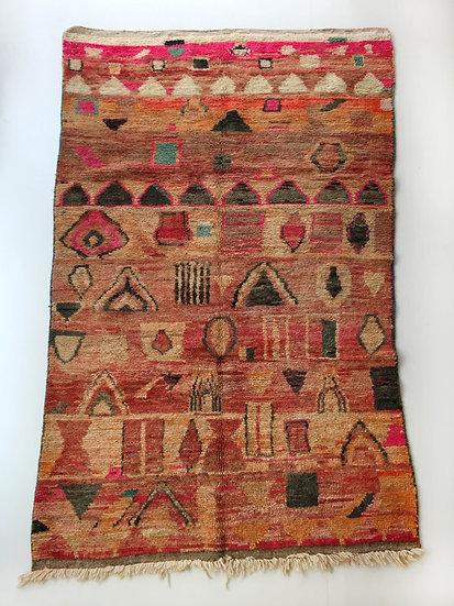 Tapis berbère Boujaad ocre à motifs colorés 2,64x1,60m