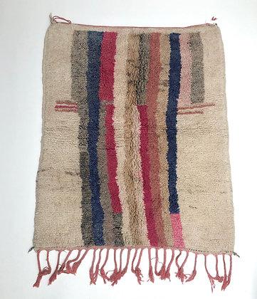 Tapis berbère Boujaad à lignes colorées 1,36x1,14m
