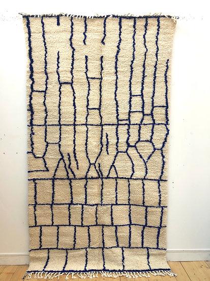 Tapis berbère Azilal à motifs géométriques bleu majorelle 2,71x1,5m