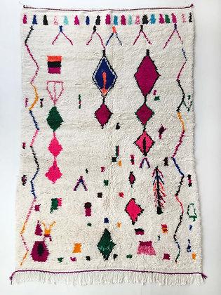 Tapis berbère Azilal à motifs colorés et fluo 2,50x1,55m