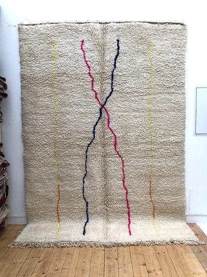 Tapis berbère Beni Ouarain à lignes colorées 2,97x2,13m