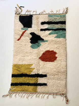Tapis berbère Beni Ouarain à motifs colorés 1,98x1,24m