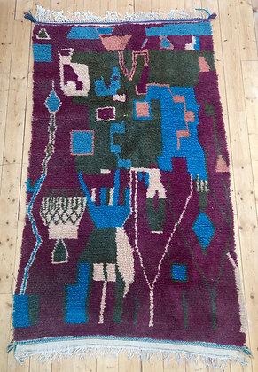 Tapis berbère Azilal à motifs colorés 2,39x1,40m