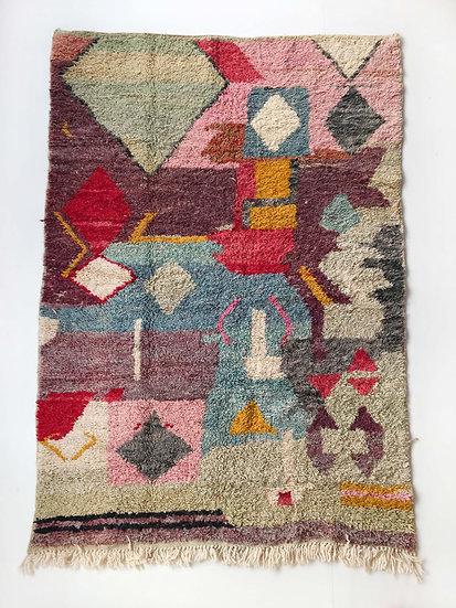 Tapis berbère Boujaad à motifs colorés 2,50x1,53m