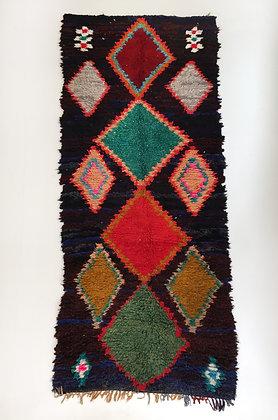 Tapis berbère Boucherouite à losanges colorés 2,76x1,10m