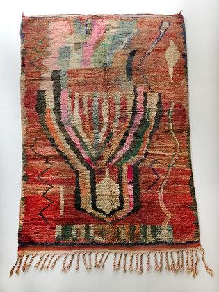 Tapis berbère Boujaad rouge à motifs colorés 2,54x1,60m