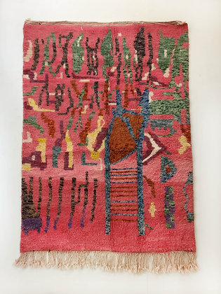 Tapis berbère Beni Ouarain rose à motifs colorés 2,40x1,55m