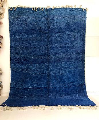 Tapis berbère Beni Ouarain uni bleu chine 3,19x2,24m