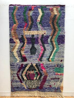 Tapis berbère Boujaad fond violet à motifs colorés 2,51x1,60m