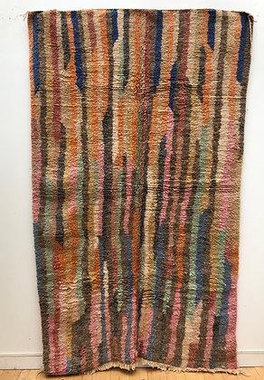 Tapis berbère Boujaad à lignes colorées 2,52x1,51m