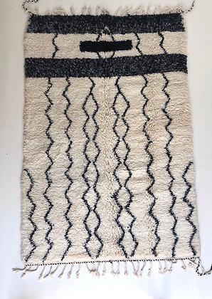 Tapis berbère Beni Ouarain à motifs graphiques noirs 2,51x1,63m