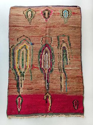 Tapis berbère Boujaad ocre à motifs colorés 2,41x1,47m