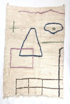 Tapis berbère Azilal à motifs colorés pastels 2,6x1,73m